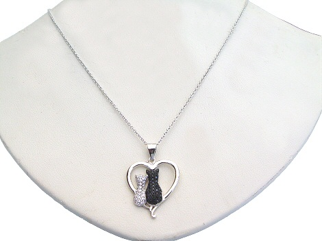 Black and White Cats Necklace