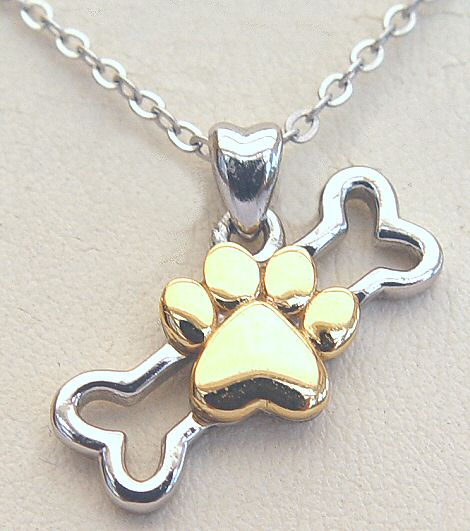 Dog Paw and Bone Necklace